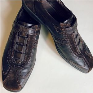 Ecco chocolate brown leather & suede shoes.